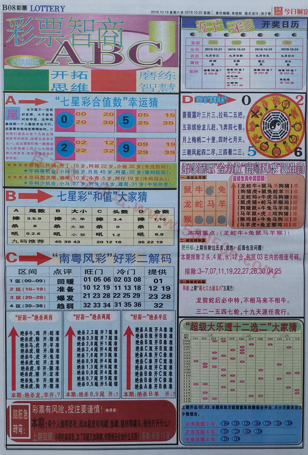 118期:彩民推荐:≮财富赢家≯→(七星彩图)