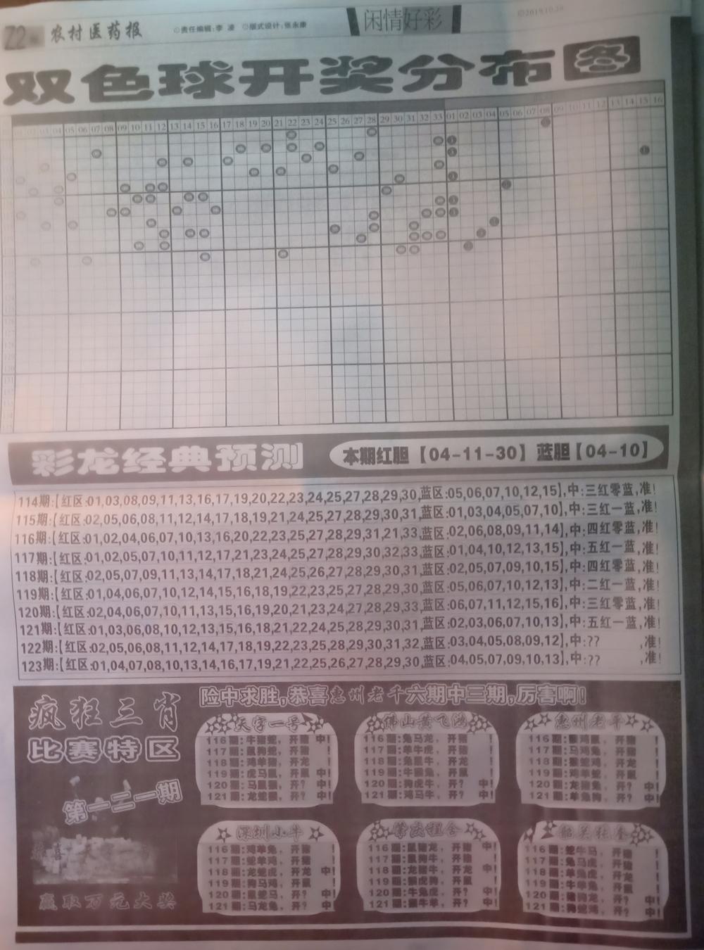 121期:彩民推荐:≮粤彩联盟≯→(博彩必备)