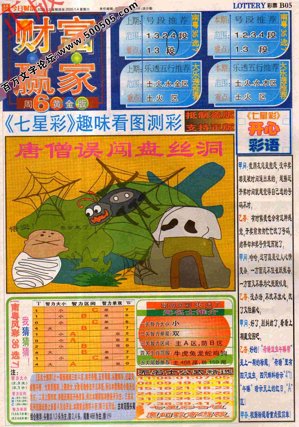 002期:彩民推荐:≮财富赢家≯→(七星彩图)