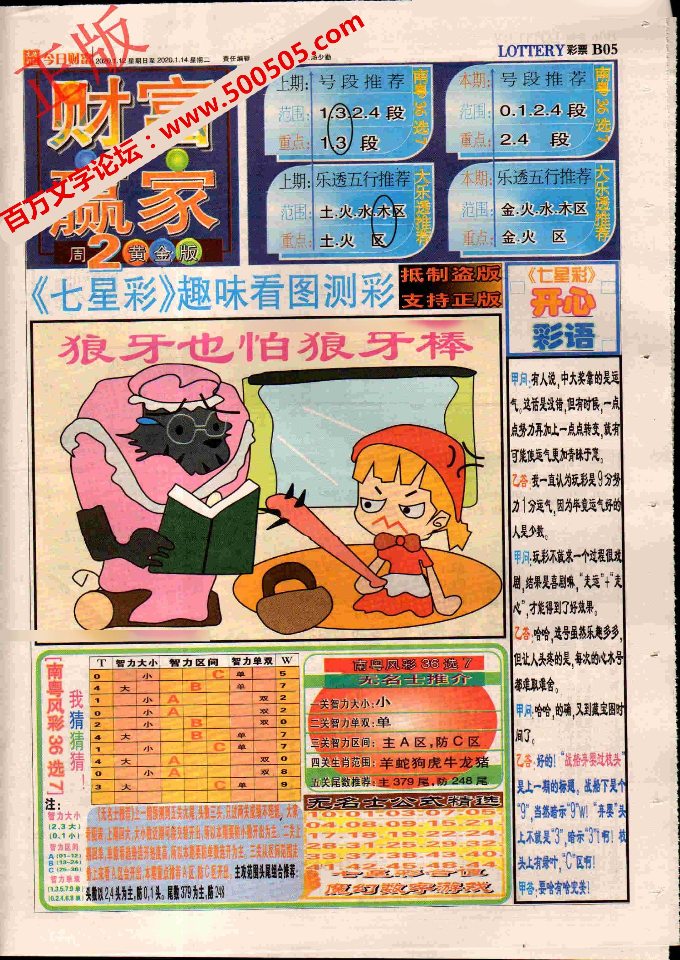 004期:彩民推荐:≮财富赢家≯→(七星彩图)