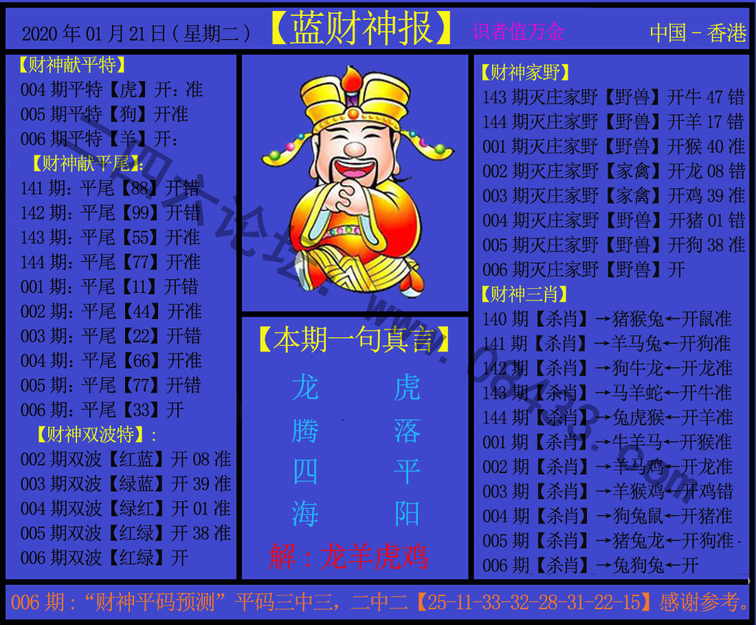 006期:蓝财神报