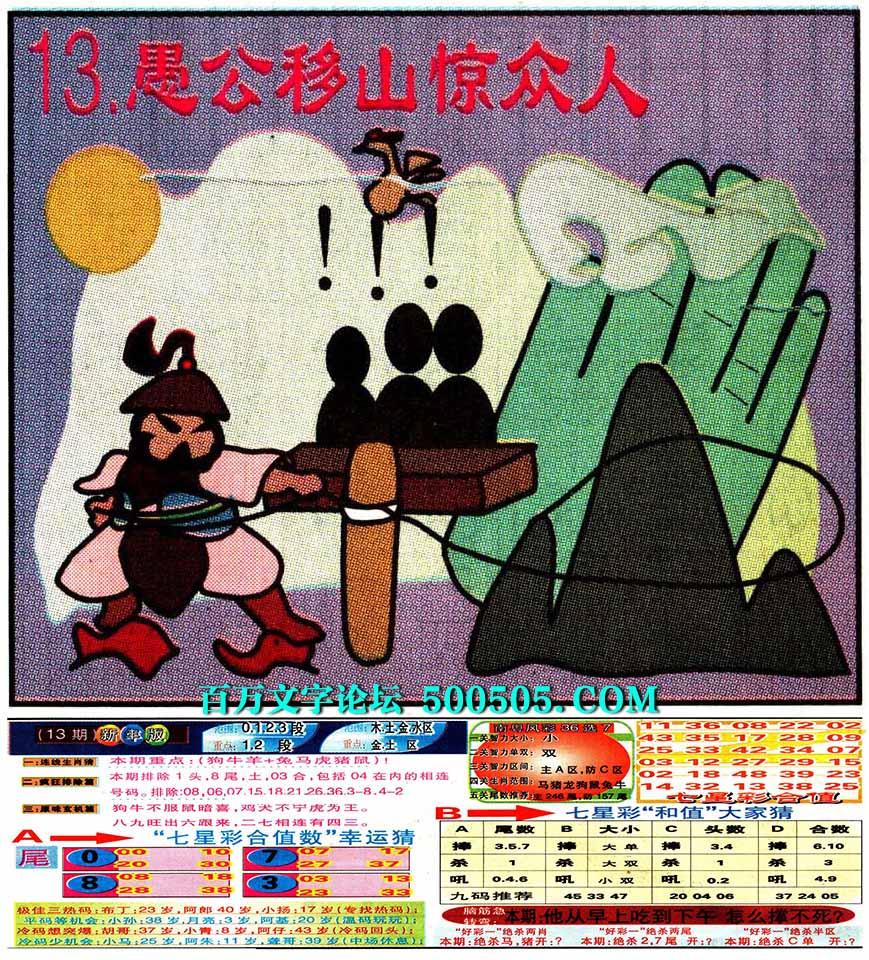 013期:彩民推荐:≮财富赢家≯→(七星彩图)