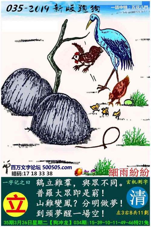 013期跑狗一字記之曰:【立】_鶴立雞群,與眾不同;_山雞變鳳?分明做夢!