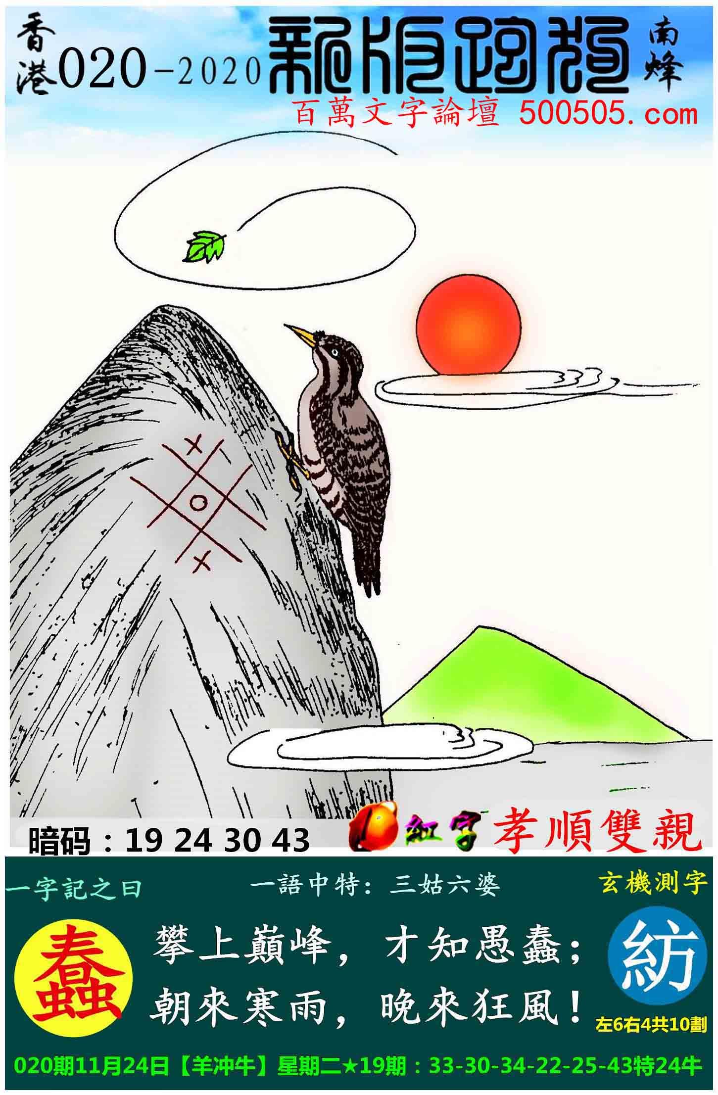 020期跑狗一字記之曰:【蠢】_攀上巔峰,才知愚蠢;_朝來寒雨,晚來狂風!