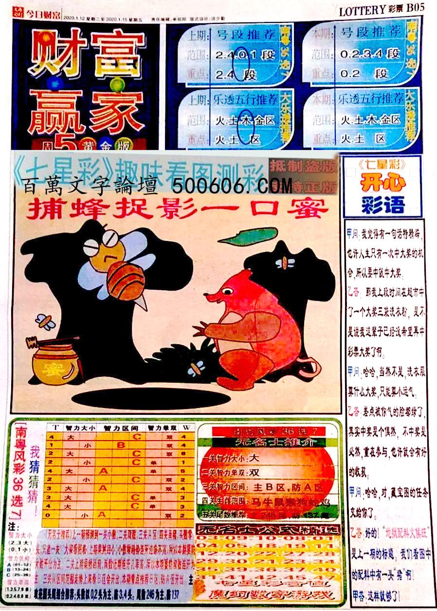 005期:彩民推荐:≮财富赢家≯→(七星彩图)