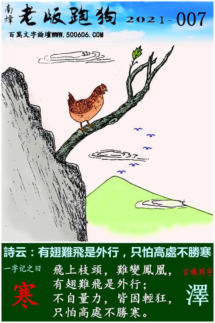 007期老版跑狗一字�之曰:【寒】 ��:有翅�y�w是外行,只怕高�不�俸�。
