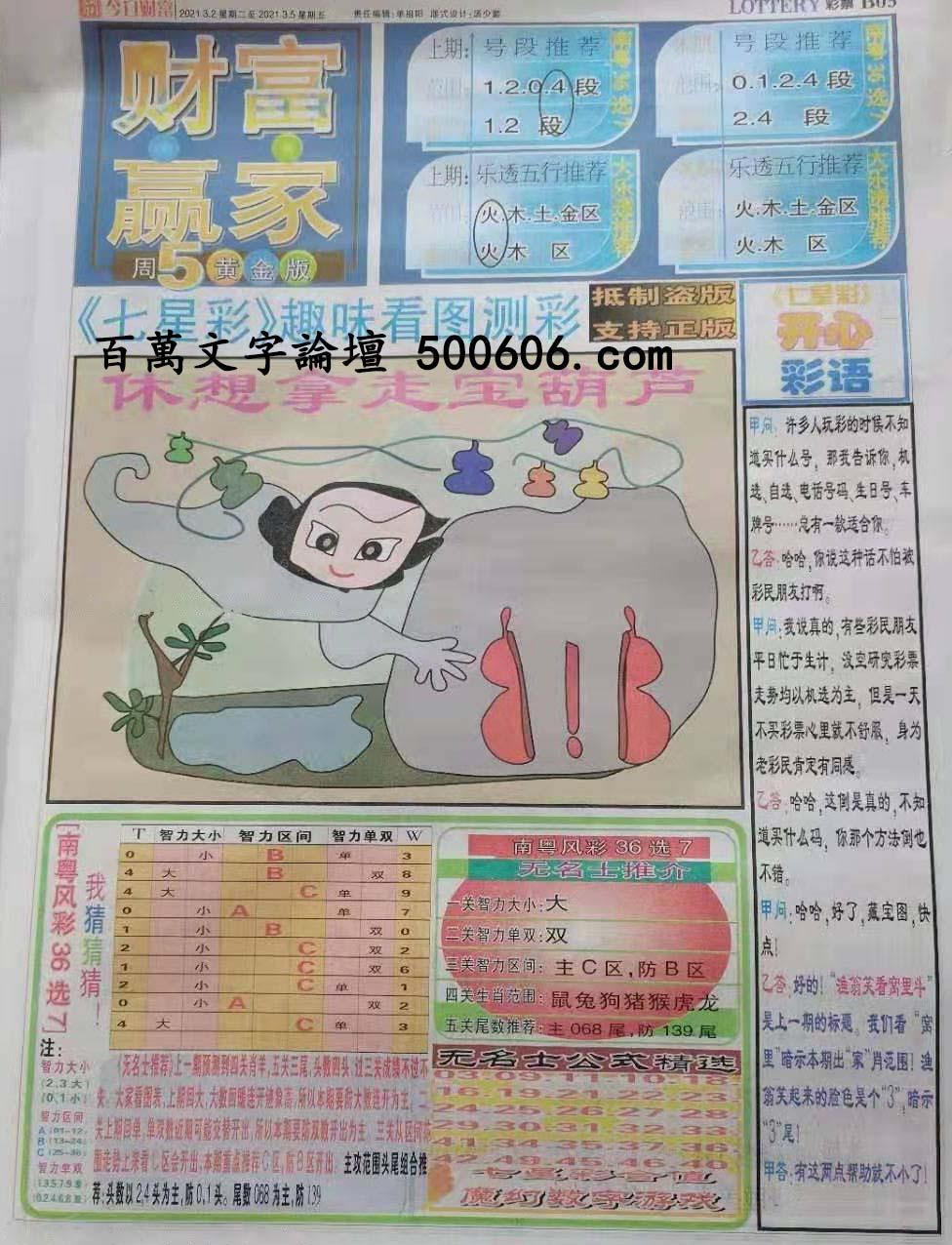 019期:彩民推荐:≮财富赢家≯→(七星彩图)