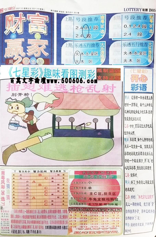 020期:彩民推荐:≮财富赢家≯→(七星彩图)