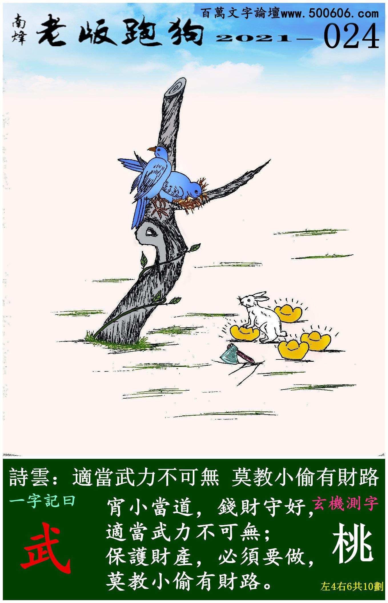 024期老版跑狗一字�之曰:【武】 ��:�m���o力不可�o,莫教小偷有�路。