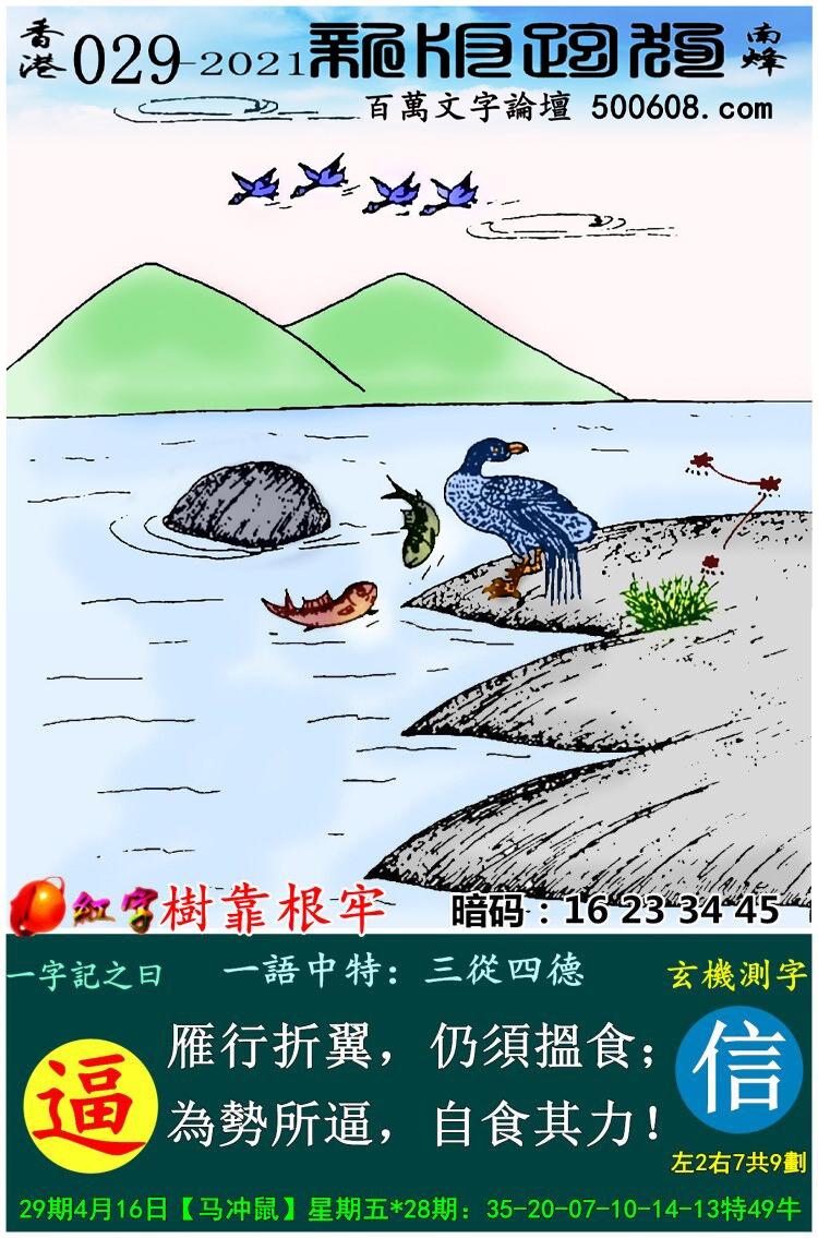 029期跑狗一字�之曰:【逼】 雁行折翼,仍���食;��菟�逼,自食其力!