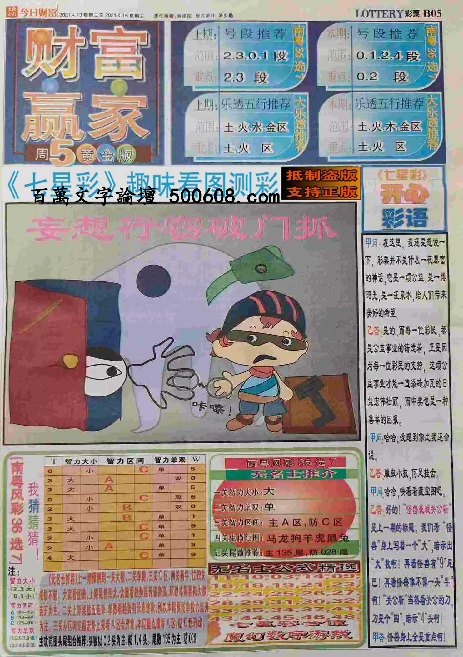 029期:彩民推荐:≮财富赢家≯→(七星彩图)