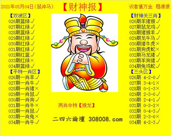 034期:黄财神报