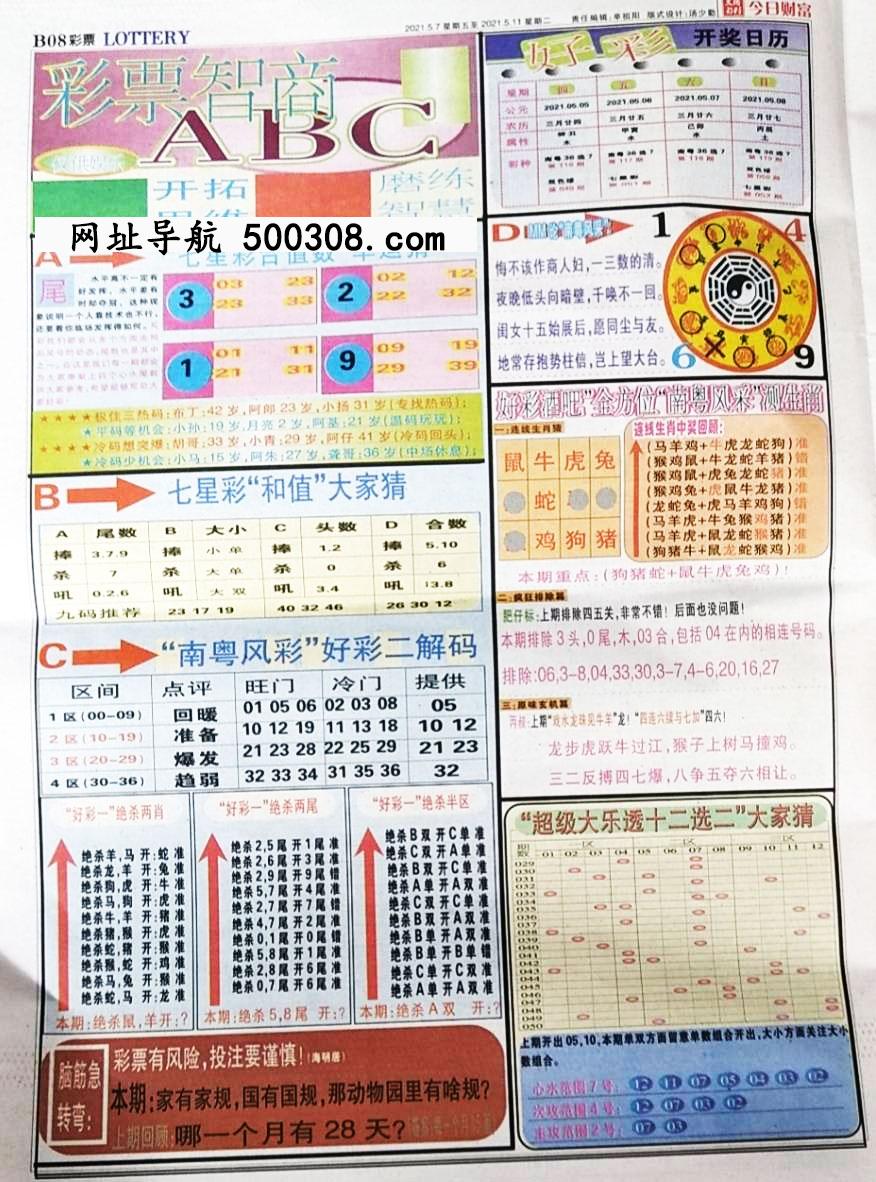 036期:彩民推荐:≮财富赢家≯→(七星彩图)