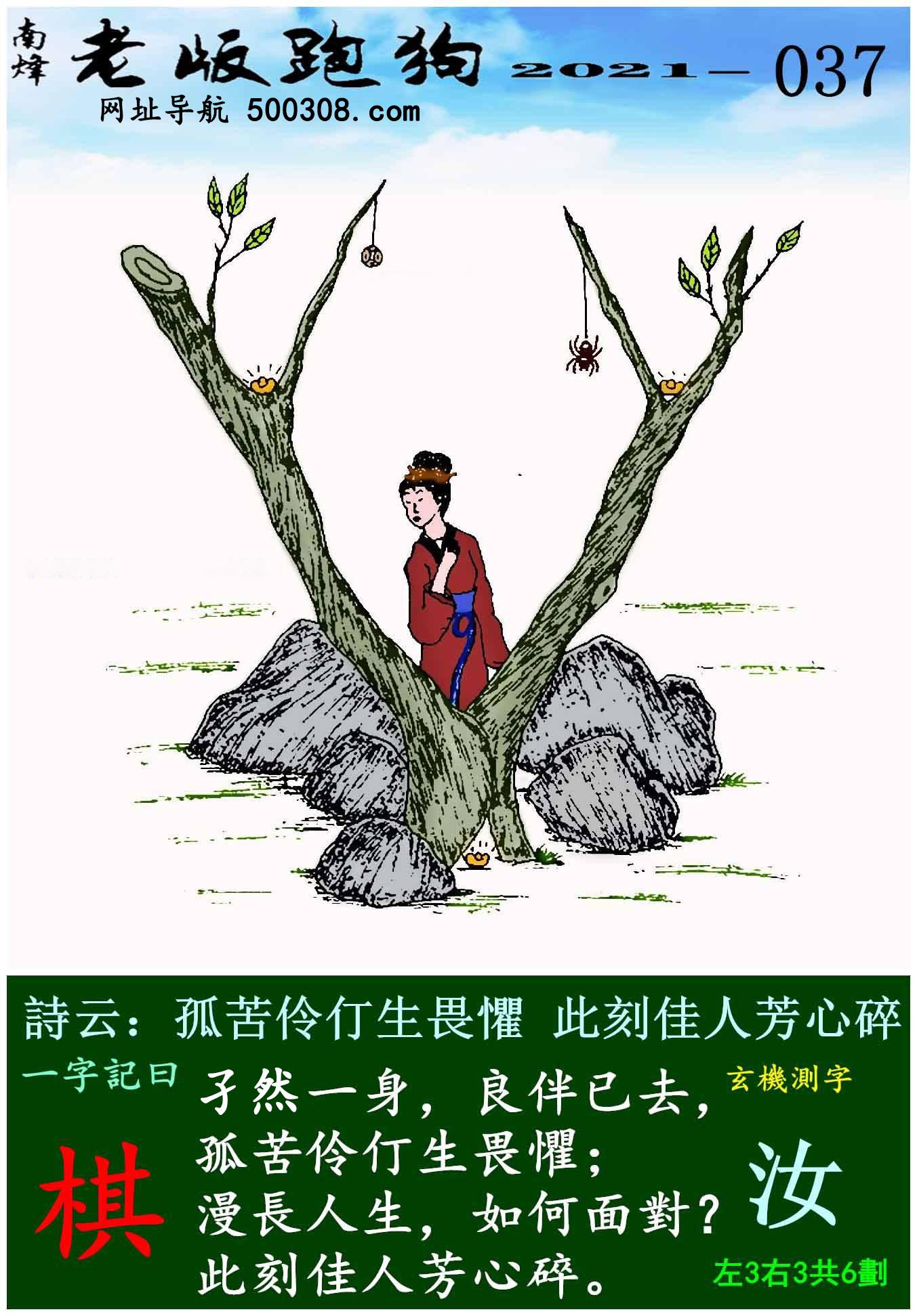 037期老版跑狗一字�之曰:【棋】 ��:孤苦伶仃生畏�郑�此刻佳人芳心碎。