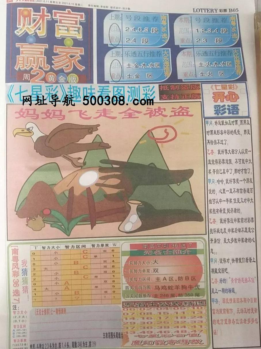 046期:彩民推荐:≮财富赢家≯→(七星彩图)