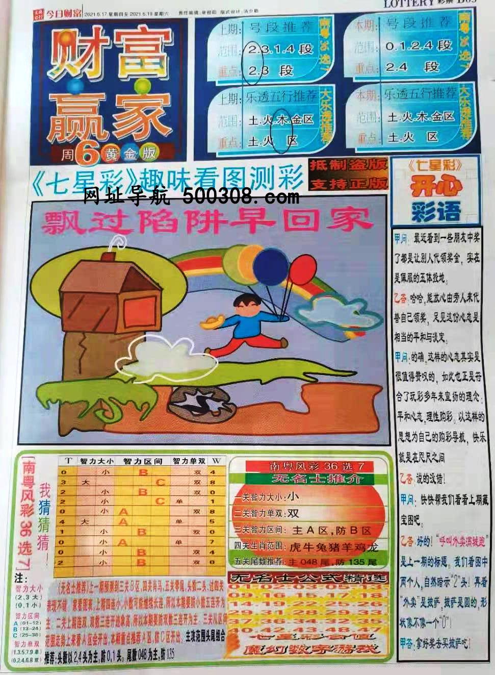 048期:彩民推荐:≮财富赢家≯→(七星彩图)