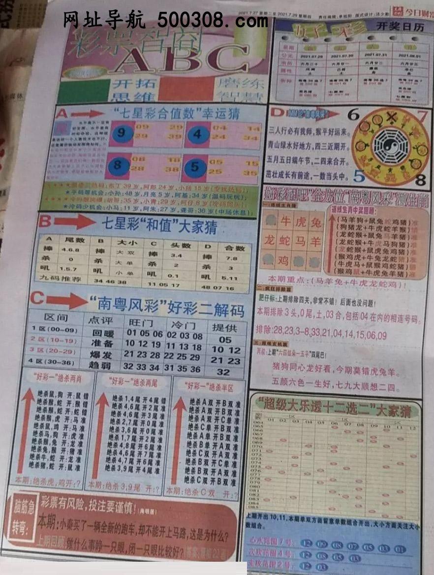 064期:彩民推荐:≮财富赢家≯→(七星彩图)