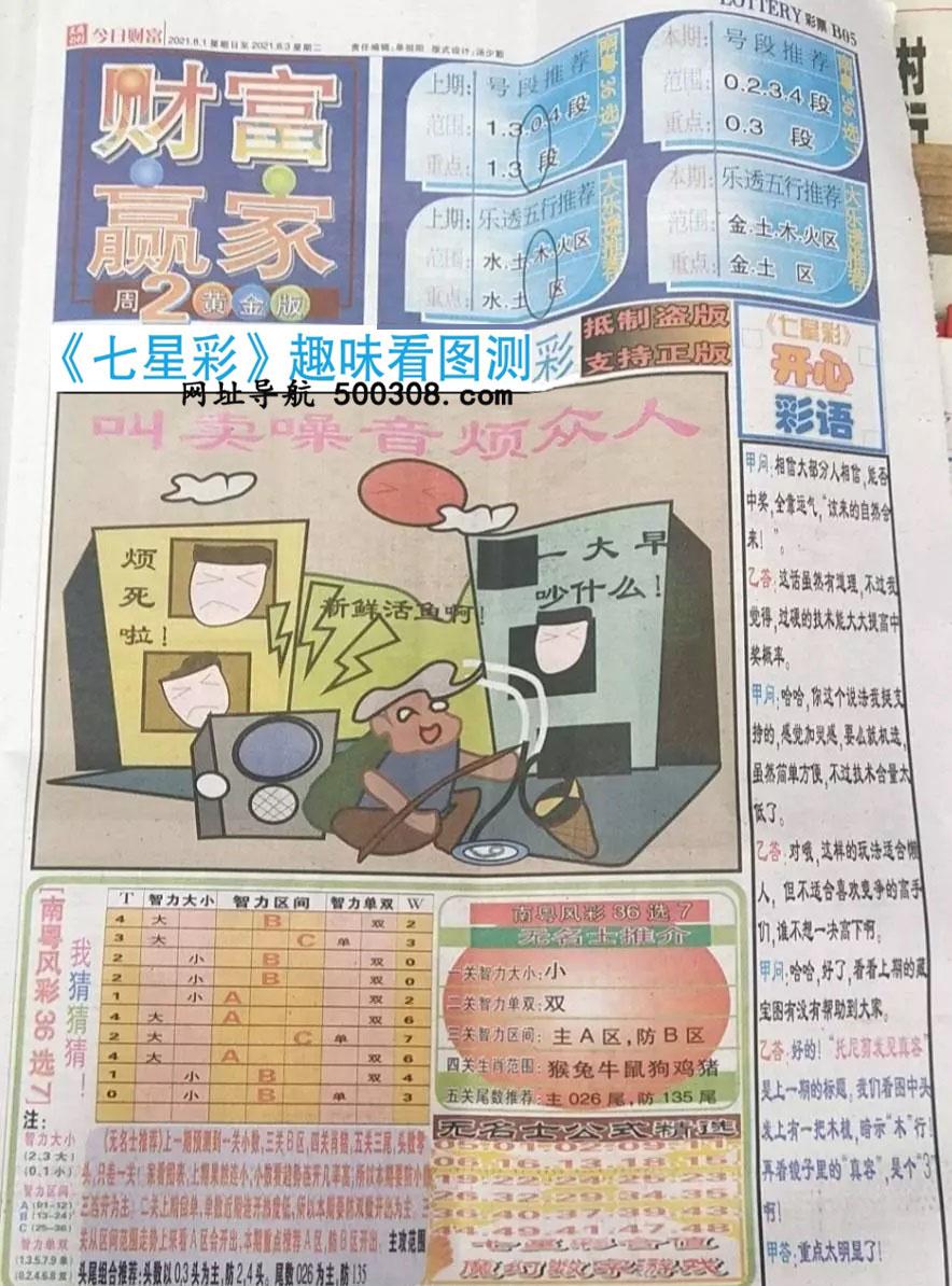 065期:彩民推荐:≮财富赢家≯→(七星彩图)