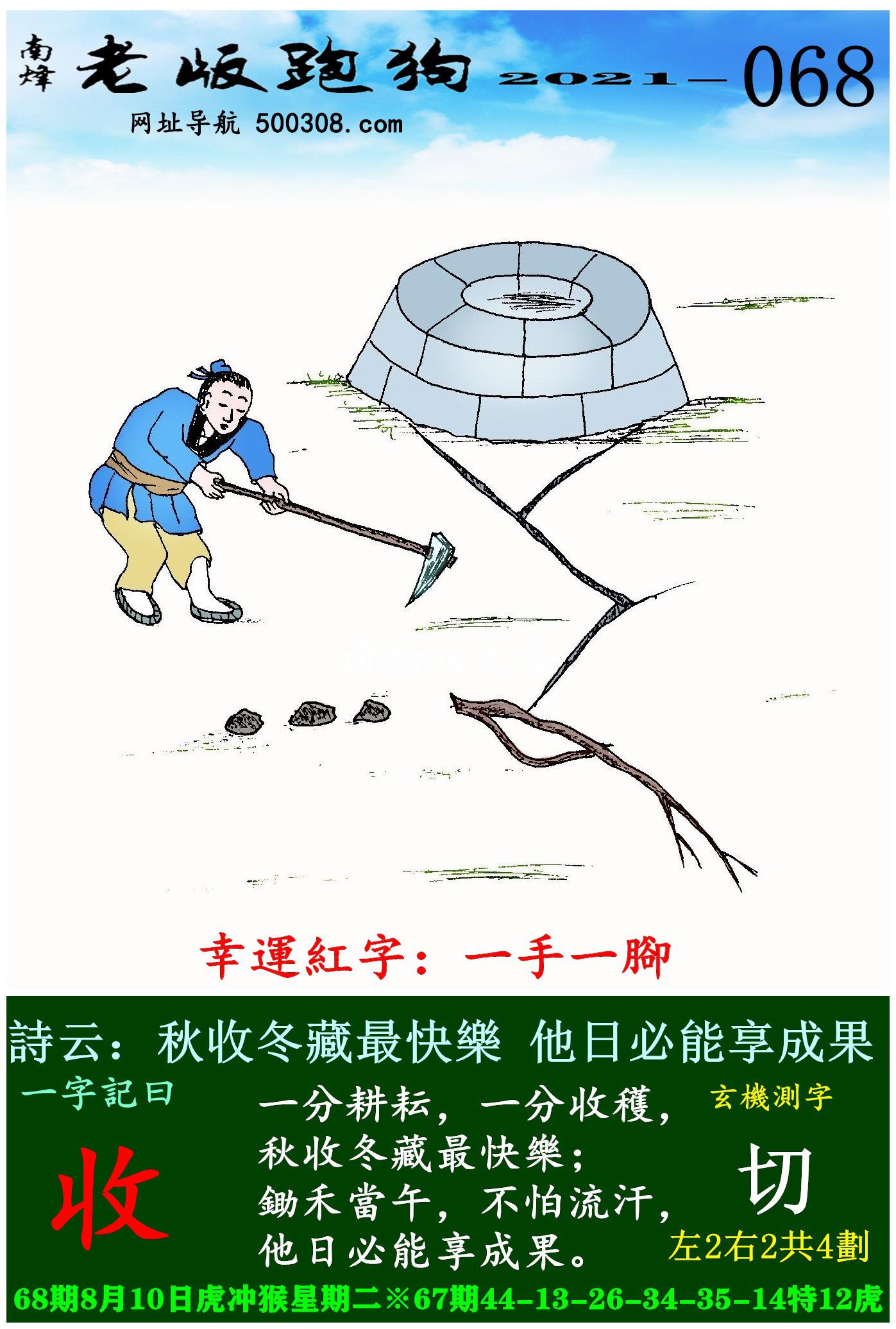 068期老版跑狗一字�之曰:【收】 ��:秋收冬藏最快�罚�他日必能享成果。