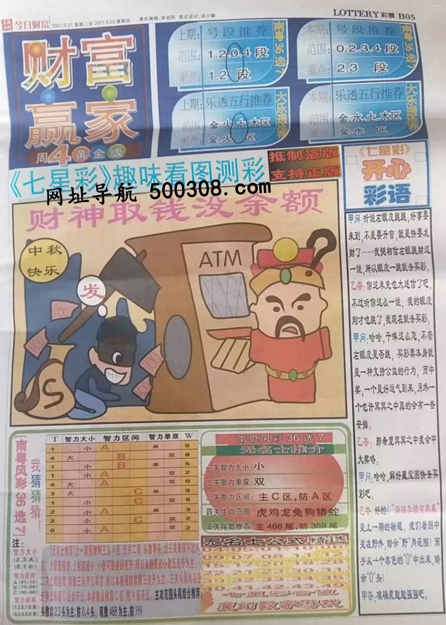 084期:彩民推荐:≮财富赢家≯→(七星彩图)