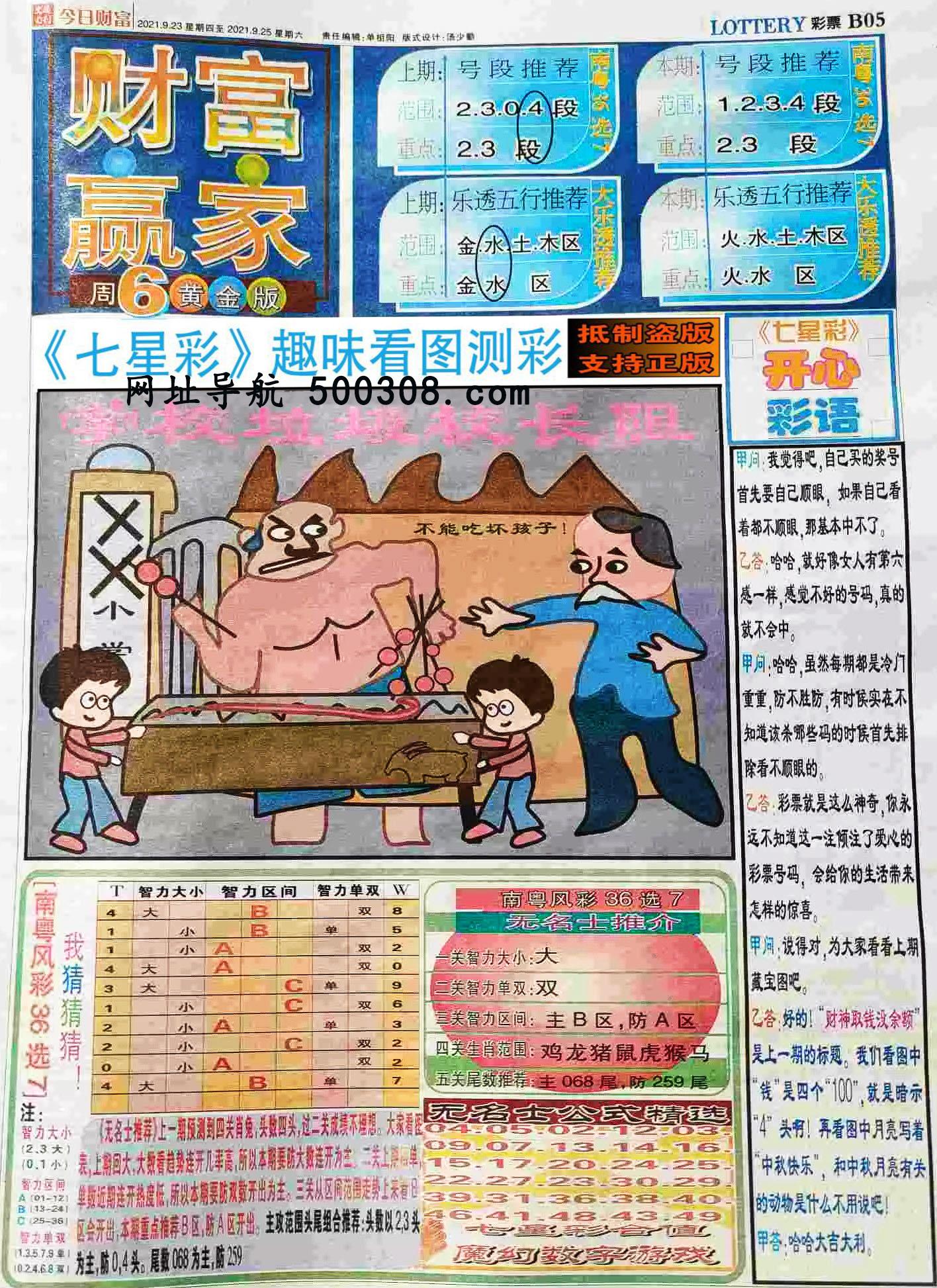 085期:彩民推荐:≮财富赢家≯→(七星彩图)