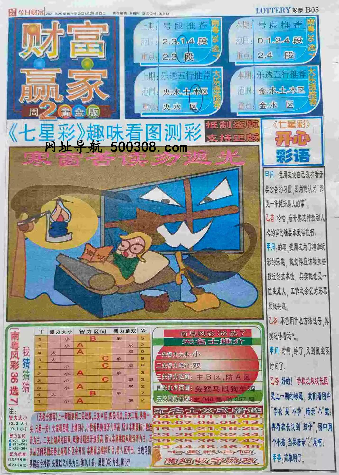 086期:彩民推荐:≮财富赢家≯→(七星彩图)