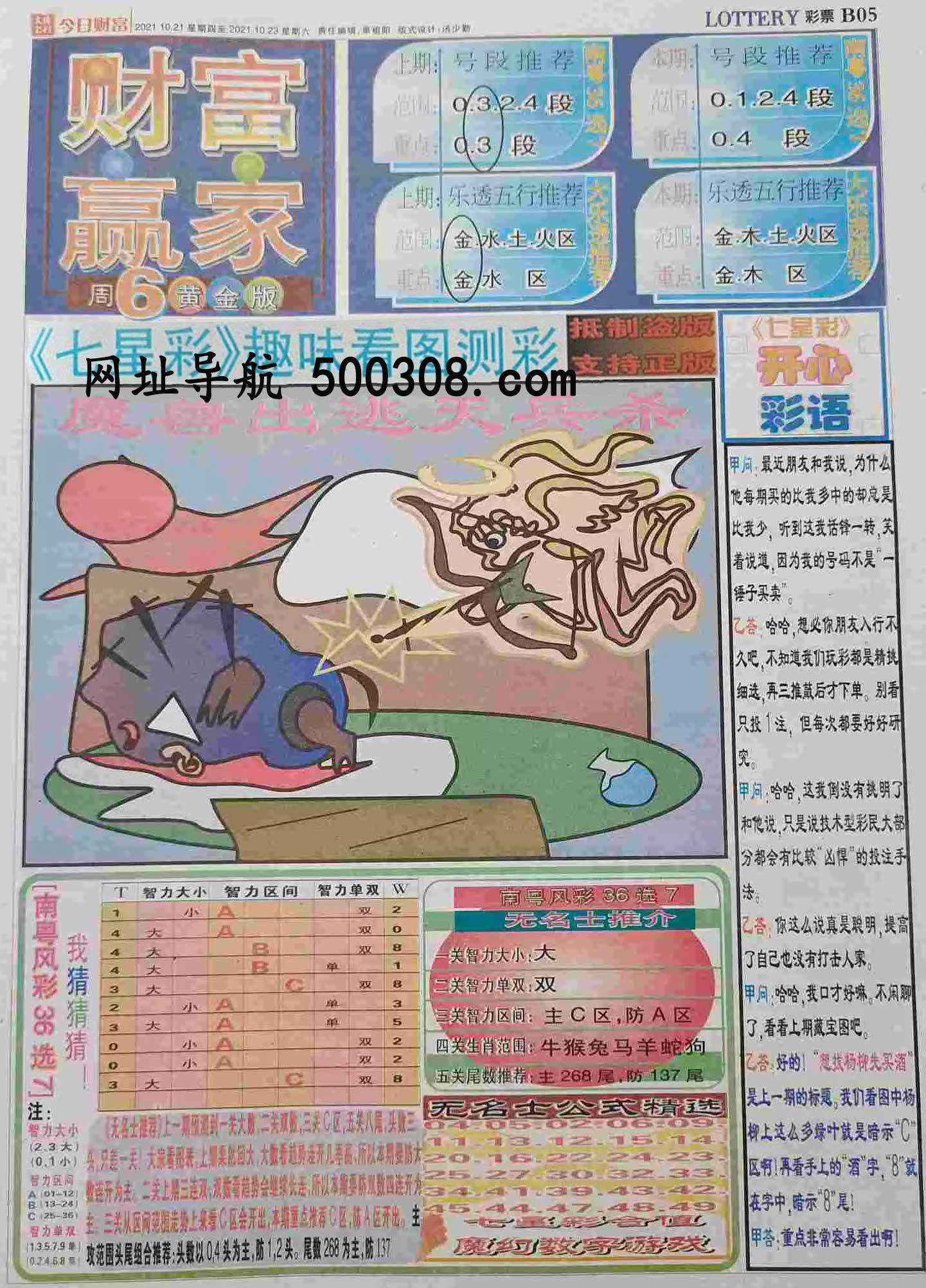 095期:彩民推荐:≮财富赢家≯→(七星彩图)