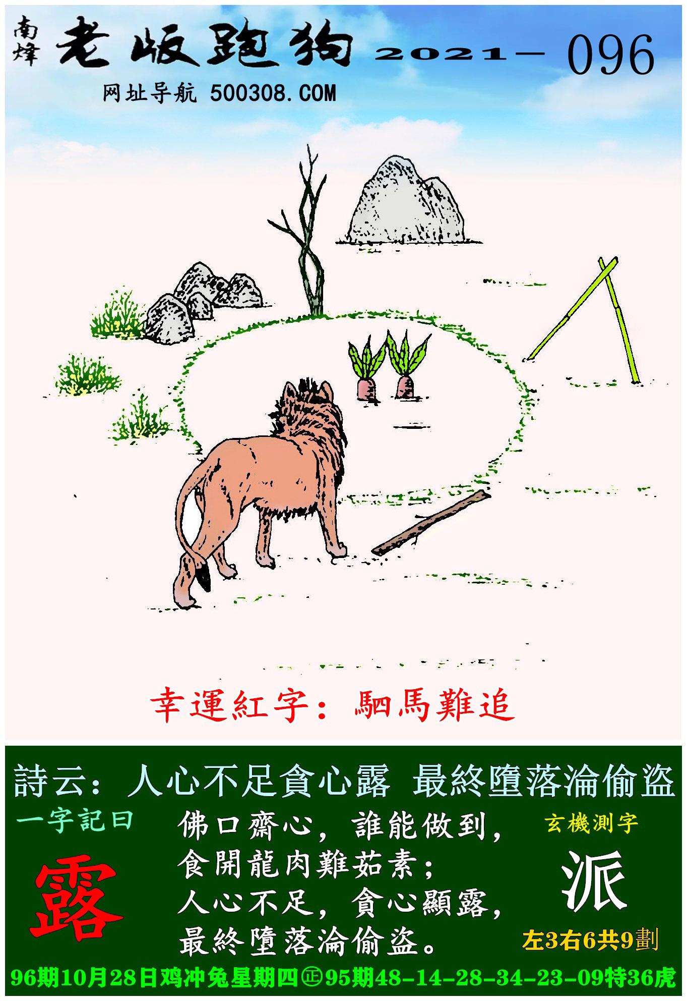 096期老版跑狗一字�之曰:【露】 ��:人心不足�心露,最�K��落�S偷�I。